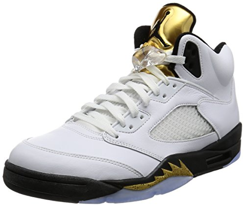 newest collection aab47 ea46e Nike Air Jordan 5 Retro, Chaussures Fitness Hommes Blanc (pièce En Or Blanc