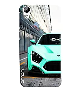 Omnam Skyblue Sports Car Front Effect Printed Designer Back Cover Case For HTC Desire 728