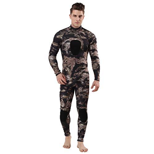 QIMANZI Taucheranzug Herren Wetsuit 3MM Ganzkörperanzug Super Stretch Tauchanzug Swim Surf Schnorcheln(Khaki,L)