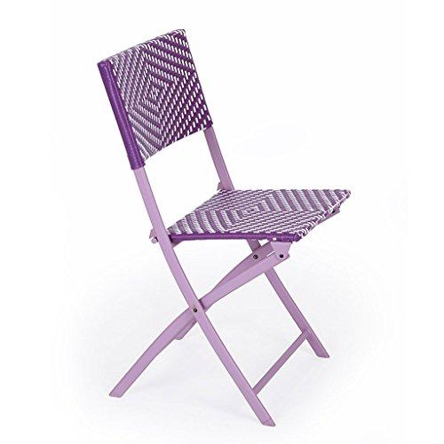 RKY Chaise Longue Rotin Balcon Loisirs Déjeuner Pause Chaise Maison Chaise Paresseux Portable Chaise Pliante Orange Rose Violet Gris /-/ (Couleur : Purple)