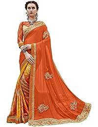 Gaurangi Creation Half And Half Bandhani Printed Party Wear Saree (SGN10007 Orange & Yellow)