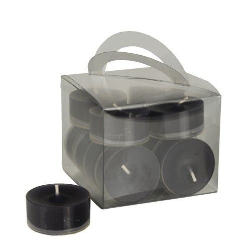12 Tealights, Ø 38 mm, 18 mm, black in polycarbonate cup, completely colored, Papstar 10471