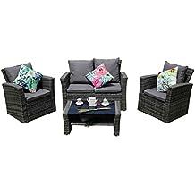 Yakoe 4Piece Eton gamma rattan mobili da giardino veranda patio set divani, grigio, 120x 71x 80cm