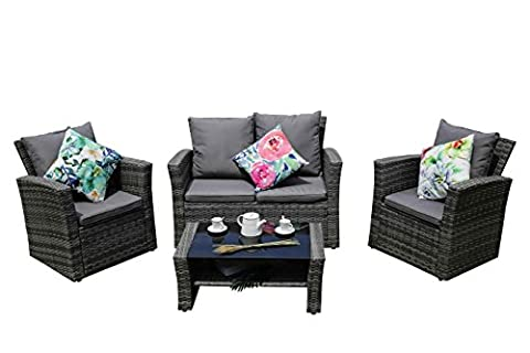 yakoe 4Stück Eton Serie Rattan Gartenmöbel Wintergarten Terrasse Sofa-Set, grau, 120x 71x 80cm