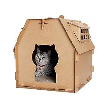 Roblue Maison Chat Chaton en Papier Ondulé Résistant à Attraper Jouet 41.5x37.5x42cm