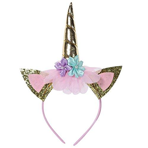 Kanggest Diadema de fiesta unicornio de los niños Decoración de la fiesta de cumpleaños de la venda de la decoración de la fiesta de cumpleaños de halloween (oro)