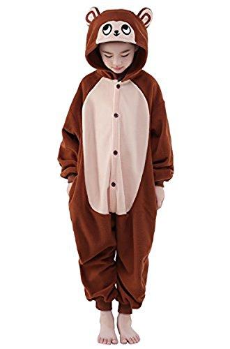 ABYED® Jumpsuit Tier Karton Fasching Halloween Kostüm Sleepsuit Cosplay Fleece-Overall Pyjama Schlafanzug Erwachsene Unisex Lounge,Chidren Größe 125 -for Höhe: 138-148cm Brown - Kostüm Für Affe Erwachsene Halloween