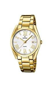 Festina Boyfriend - Reloj de cuarzo para mujer, correa de acero inoxidable color dorado de Festina