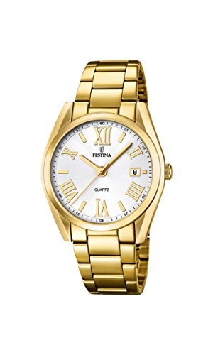 Festina Women's Quartz Watch with Silver Dial Analogue Display and Gold Stainless Steel Gold Plated Bracelet F16792/1