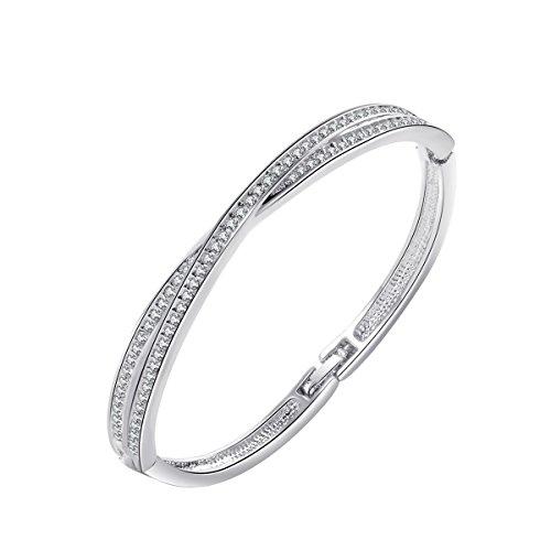 Damen Armband Glitzer 18K Weiß Golden mit Swarovski Kristall Armreifen Rund 0,3cm Länge 19CM