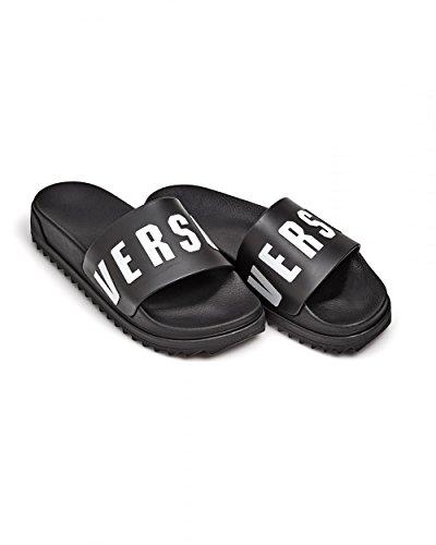 9e9e988c18d28 Versus Versace Mens Rubber Sliders, White Versus Text Black Flip Flops 41  Black