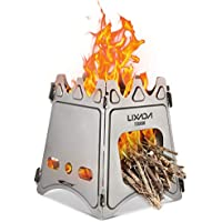 Lixada Camping Stove, Portable Folding Wood Stove Lightweight Alcohol Stove for Outdoor Cooking Backpacking Stove (Titanium/Stainless Steel)