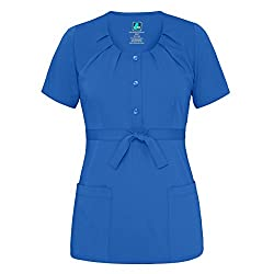 Adar Indulgenc Jr Fit Scoop Neck Pleated Scrub Top - 4200 - Royal Blue - 3x