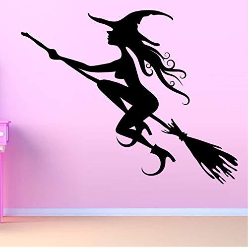Czxmp Halloween Mädchen Zimmer Fliegende Hexe Wandaufkleber Vinyl Selbstklebend Schwarz Home Decor Tapete51 * 44 Cm
