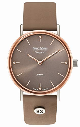 Bruno Söhnle Damen Analog Quarz Uhr mit Leder-Kalbsleder Armband 17-63124-891