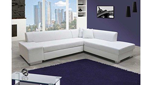 JUSTyou Porto Canapé d'angle Sofa canapé lit Cuir écologique (HxLxl): 73x278x216 cm Blanc Angle droit