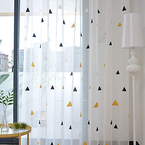 BAI curtain Gardinen Voile Screening Dreieck Stickerei Ultra Schiere Vorhänge zum Wohnzimmer Schlafzimmer Fensterbehandlung Anti-UV Fenstervorhänge Fertig Vorhang 1 Panels ring-1panel(250 * 250cm) -