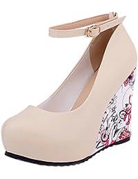 Azbro Mujer Zapato Bomba Tacón Cuña con Correas a Tobillo