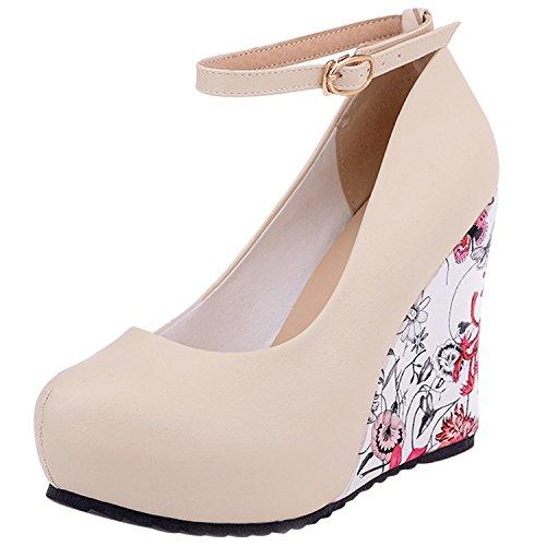 Oasap Women's Ankle Strap Wedge Heels Floral Pumps Beige