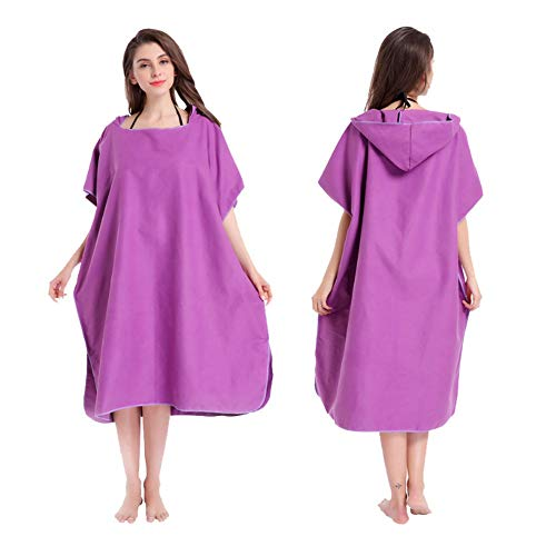 Home Top Kostüme für Erwachsene Frauen Surf Beach Mit Kapuze Poncho Change Bademantel Robe Handtuch Xmas Gift (Farbe : Lila, Größe : Universal Size)