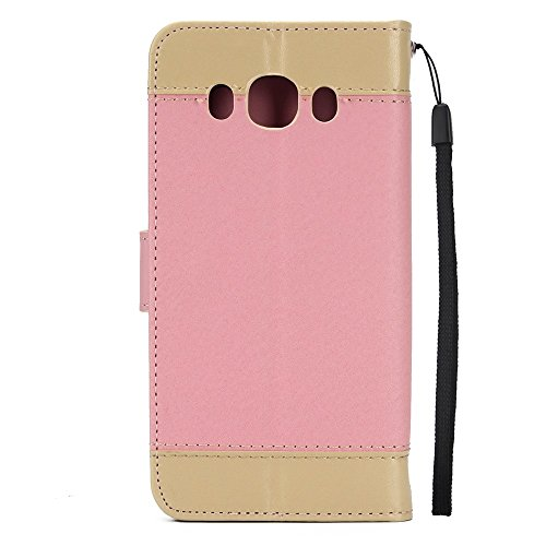 EKINHUI Case Cover Dual Color Matching Premium PU Leder Flip Stand Case Cover mit Card Cash Slots und Lanyard für Samsung Galaxy J310 ( Color : Purple ) Pink