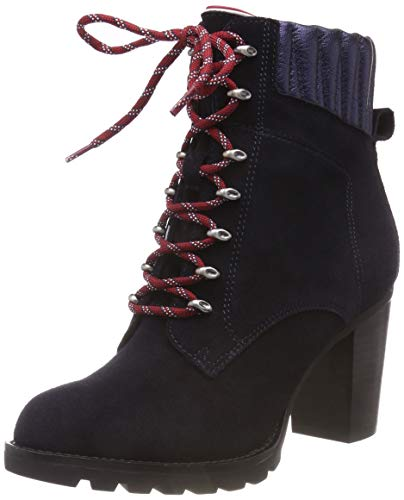 Tommy Hilfiger Damen Basic Hiking Heeled Suede Combat Boots Blau (Midnight 403) 39 EU