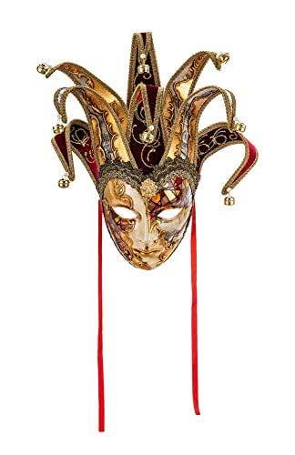 Maschera Decorativa Originale Veneziana Fatta A Mano, Con Volto Di Jolly, Decoro Bizantino Rame E Oro E Punte In Velluto Bordeaux E Carta Venezia, Made In Italy