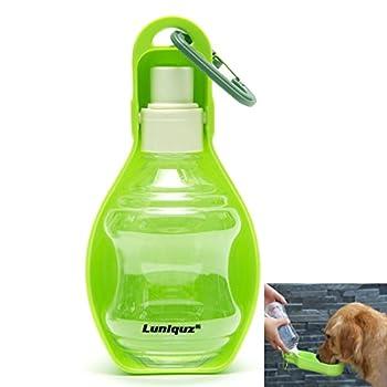 Luniquz 250ml Bouteille d'Eau pour Chien Distributeur d'Eau Portable avec Clip en Plastique Gourde avec Abreuvoir pour Chien Chiot Chat(Vert)