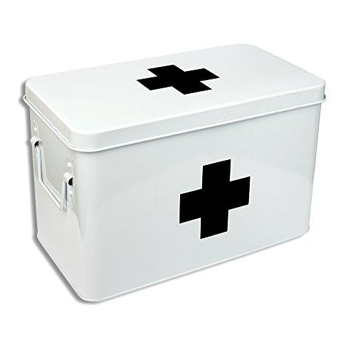 Schramm Medikamenten Koffer Box 31x19,5x21cm Medikamentenbox Metall Medizin Box Erste Hilfe Kasten Box Tabletten Medikamenten Aufbewahrung Medizinbox