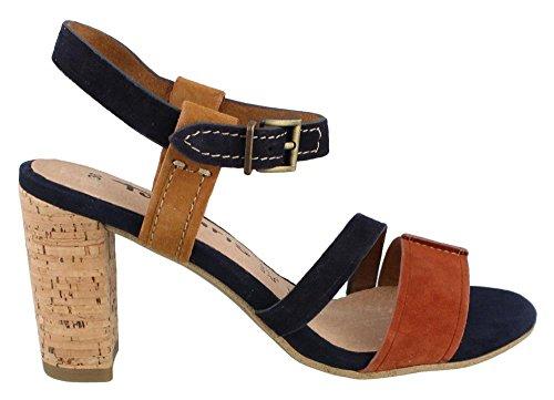 Tamaris - 28350, Scarpe col tacco con cinturino a T Donna Blu (Blau (NAVY SUEDE COM 869))