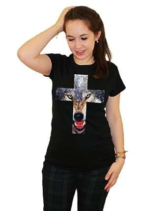 21 Century Clothing Damen Wolf Cross T-Shirt Schwarz XX-Large