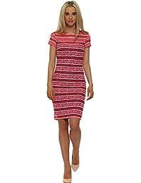 Paper Dolls Pink Stripe Lace Bodycon Dress