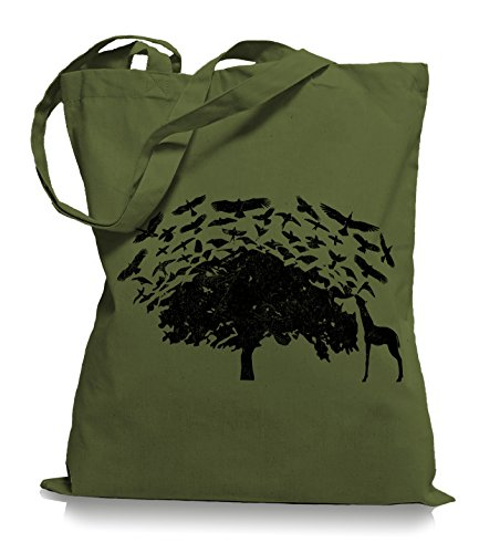 Ma2ca® Birds On Tea Africa Giraffa Uccelli Borsa In Tessuto Juta Borsa Tote Bag / Bag Wm101 Verde Oliva