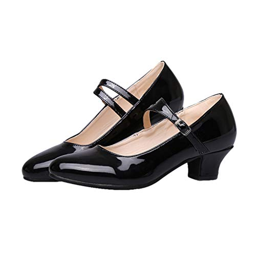 Donna scarpe da ballo con tacco basso/medio bambine bambina dita chiuse sandali scarpe da ballo latino/modern/jazz/latino/samba ballroom/waltz quattro colori