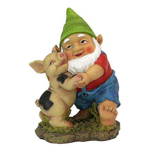 Design Toscano Glücklich wie EIN Schwein im Slop Gartenzwerg-Statue-Rasenzwerg, Vollfarbe wirklichkeitsgetreu