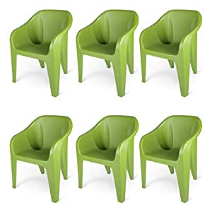Supreme Futura Plastic Chairs for Home and Office (Set of 6, Mehandi Green)
