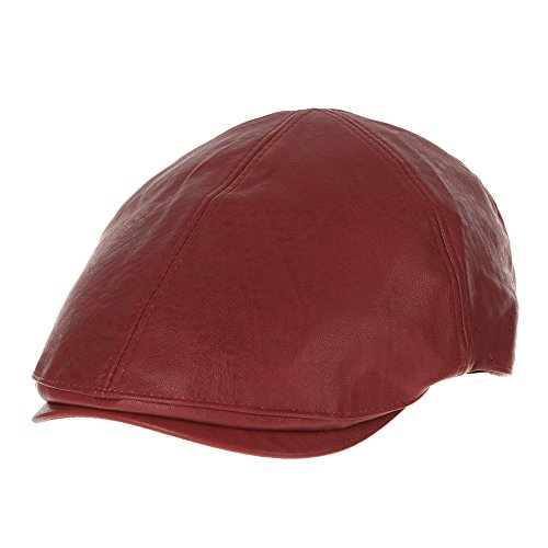 WITHMOONS Schlägermütze Golfermütze Schiebermütze Faux Leather Newsboy Hat Flat Cap SL3039 (Red) (Cap Newsboy Red)