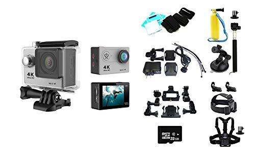 KawKaw Mini wasserdichte WiFi Action Cam für Unterwasser (bis 30m) mit Mikrofon und Hochauflösung (4K,16MP, 1080P, 60 FPS), Helmkamera mit Halterung für Outdoor-Aktivitäten (Mit Megapack, Silber)