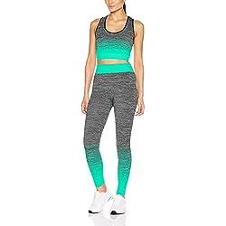 FM London Crop Top and Leggings, Conjunto Ropa Deportiva para Mujer, Turquesa (Turquoise), única (Talla del Fabricante: 8-14)