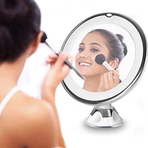 Maison & White Espejo de aumento de maquillaje circular LED | Rotación 360 ° x10 Ampliación | Base...