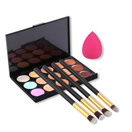 Pure Vie® 4 Pcs Pinceaux Maquillage Trousse + 1 Éponge Fondation Puff + 15 Couleurs Palette de Maquillage Correcteur Camouflage Crème Cosmétique Set - Convient Parfaitement pour une Utilisation Professionnelle ou à la Maison