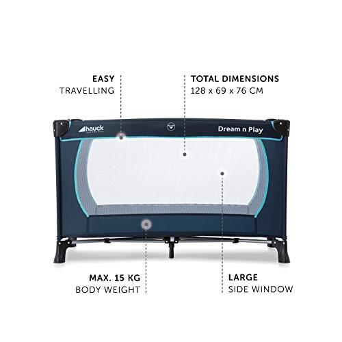 Hauck Kindereisebett Dream N Play Plus inklusive Matratze, seitlichem Reißverschluss, und Transporttasche, ab Geburt, tragbar, faltbar und klappbar, blau (navy aqua) 120 x 60 cm - 6