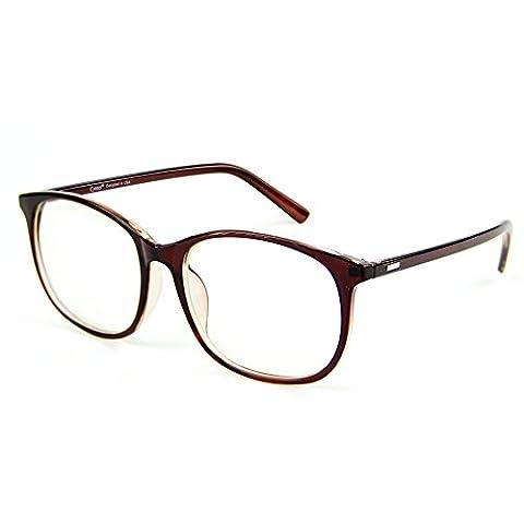 Cyxus filtre bleue lumière [anti fatigue oculaire] ordinateur lunettes (hommes / femmes) blocage des uv (lentille transparente) brun Cadre
