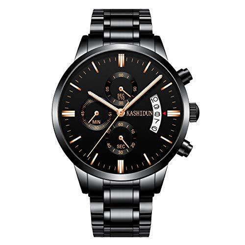KASHIDUN Herrenuhren Edelstahl Schwarz Klassische Business Casual Uhren mit Mondphase Wasserdichte Multifunktions Quarz Armbanduhr für Herren (A-Black28)