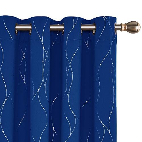 Deconovo Lot de 2 Rideau Thermique Isolant Anti Froid Oeillets Occultant Décorative Rideau Fenêtre Chambre Motif...