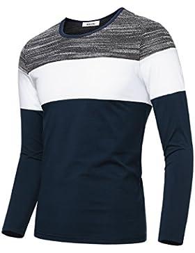 KAIUSI Herren Basic Rundhals Streifen Pullover Langarmshirt