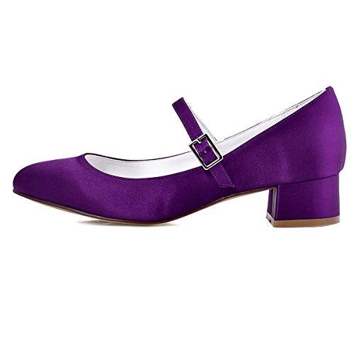 ElegantPark Femmes Fermé Toe Bloc Talon Mary Jane Pompes Satin Chaussures de Mariage Soirée Violet