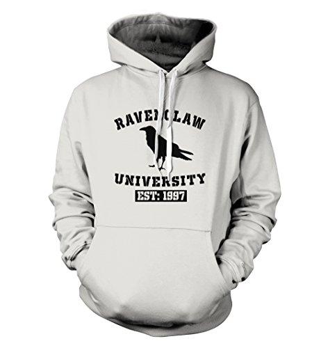 net-shirts Ravenclaw Hoodie Kapuzenpullover mit Aufdruck im College Style inspired by Harry Potter, Größe L, Weiß