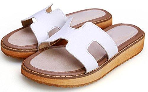 H Pantoffeln dicke Kruste Muffin beiläufige flache Sandalen Wort Drag White
