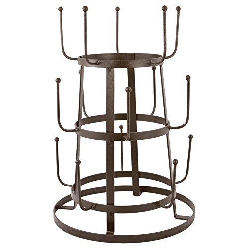 MyGift Vintage Rustikal Braun Eisen Mug/Cup/Glas Flasche Organizer Baum Trocknen Rack Ständer Mug Rack